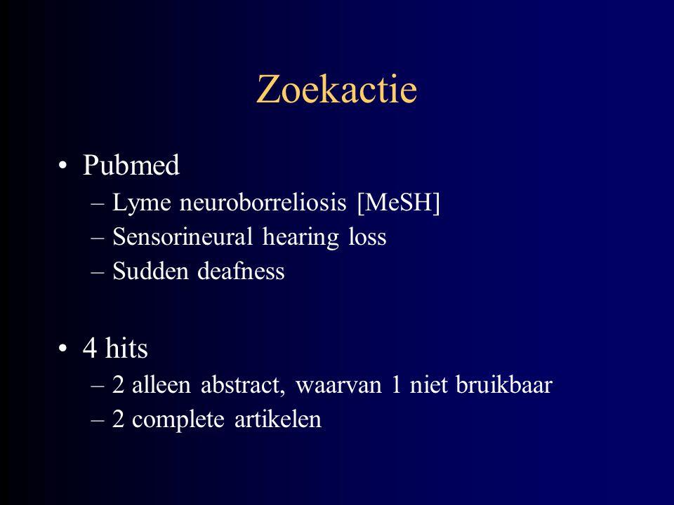 Zoekactie Pubmed –Lyme neuroborreliosis [MeSH] –Sensorineural hearing loss –Sudden deafness 4 hits –2 alleen abstract, waarvan 1 niet bruikbaar –2 com
