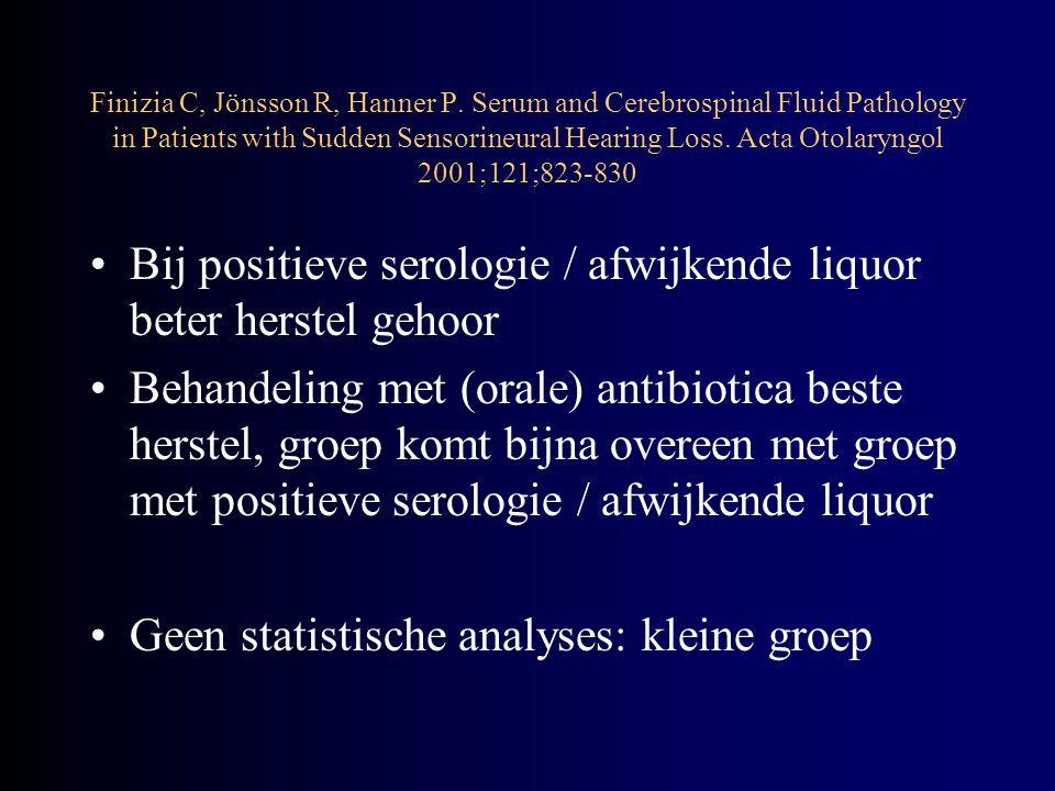 Conclusie: –Gezien hoge prevalentie van positieve Borrelia- serologie mogelijk causaal verband –Behandeling van borreliose is mogelijk (oraal), daarom serologie en liquor Commentaar: noodzakelijkheid van liquorafname blijft onduidelijk Finizia C, Jönsson R, Hanner P.