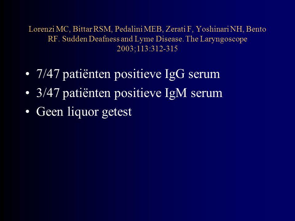 Geen verschil in herstel tussen seropositieve patiënten en seronegatieve patiënten –Trend voor seropositieve patiënten tot aanvankelijk ernstiger gehoorverlies en later slechter herstel Lorenzi MC, Bittar RSM, Pedalini MEB, Zerati F, Yoshinari NH, Bento RF.