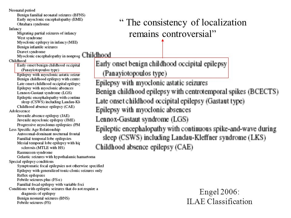 Engel 2006: ILAE Classification The consistency of localization remains controversial