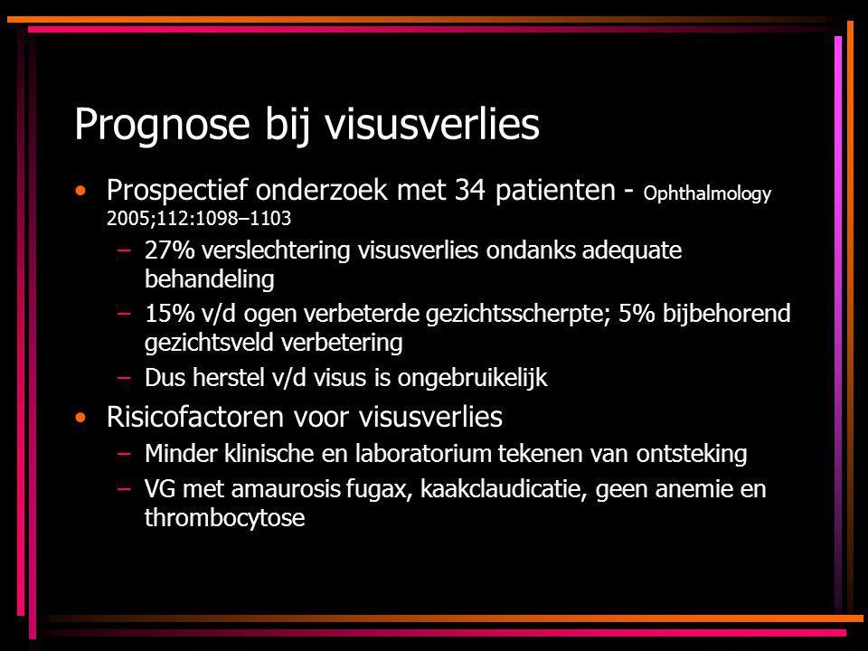 Prognose bij visusverlies Prospectief onderzoek met 34 patienten - Ophthalmology 2005;112:1098–1103 –27% verslechtering visusverlies ondanks adequate