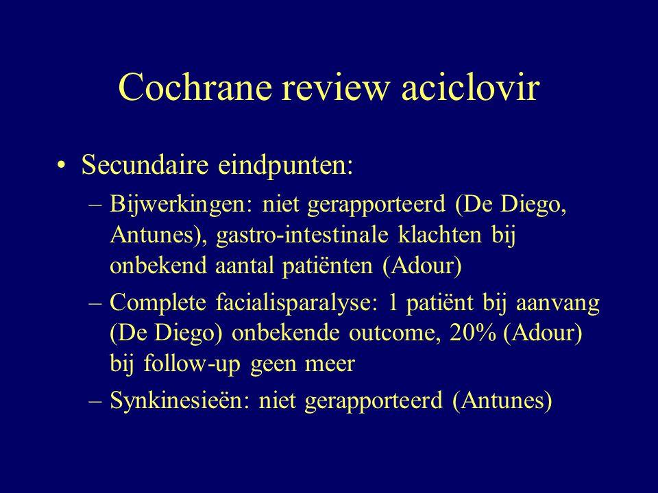 Secundaire eindpunten: –Bijwerkingen: niet gerapporteerd (De Diego, Antunes), gastro-intestinale klachten bij onbekend aantal patiënten (Adour) –Compl