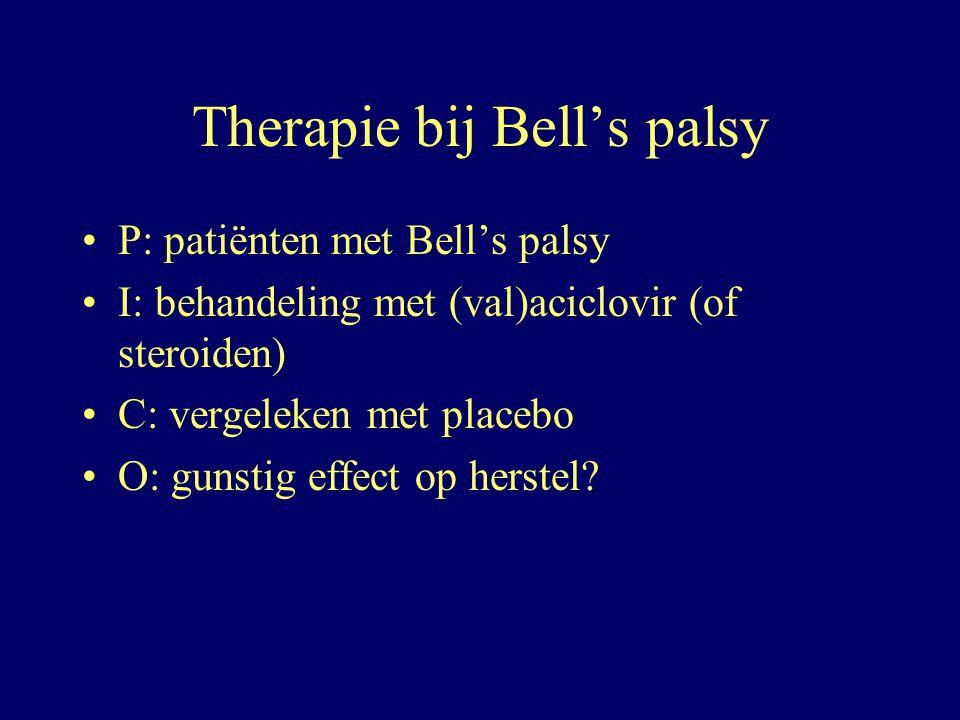 Therapie bij Bell's palsy P: patiënten met Bell's palsy I: behandeling met (val)aciclovir (of steroiden) C: vergeleken met placebo O: gunstig effect o