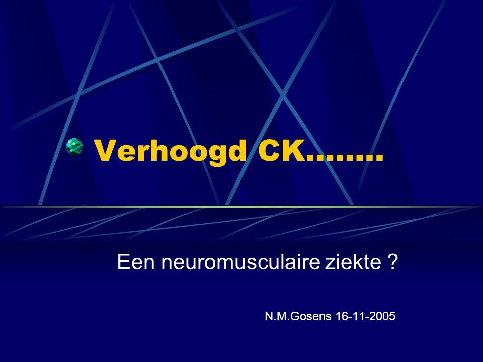 MAD deficiëntie Myoadenylaat-deaminasedeficientie CK licht tot matig verhoogd Ischemische onderarmstest Komt voor bij ptn met bewezen andere neuromusculaire of bindweefsel ziekte, asymptomatische personen en ptn met atypische spierklachten.