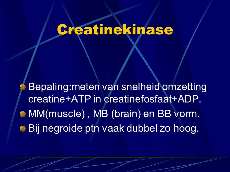 Creatinekinase Bepaling:meten van snelheid omzetting creatine+ATP in creatinefosfaat+ADP. MM(muscle), MB (brain) en BB vorm. Bij negroide ptn vaak dub