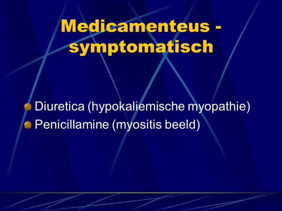 Medicamenteus - symptomatisch Diuretica (hypokaliemische myopathie) Penicillamine (myositis beeld)