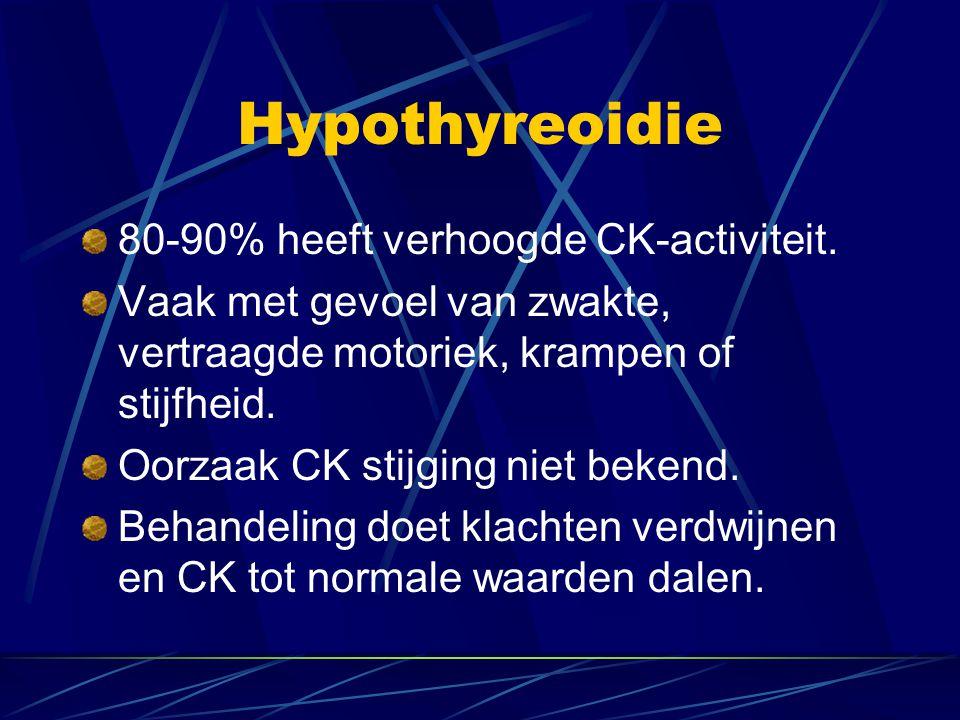 Hypothyreoidie 80-90% heeft verhoogde CK-activiteit. Vaak met gevoel van zwakte, vertraagde motoriek, krampen of stijfheid. Oorzaak CK stijging niet b