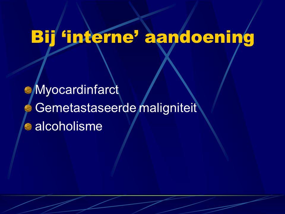 Bij 'interne' aandoening Myocardinfarct Gemetastaseerde maligniteit alcoholisme