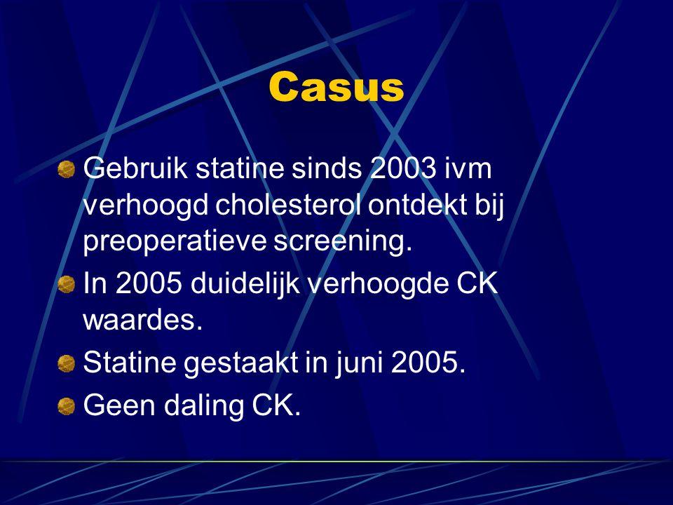 Casus Gebruik statine sinds 2003 ivm verhoogd cholesterol ontdekt bij preoperatieve screening. In 2005 duidelijk verhoogde CK waardes. Statine gestaak