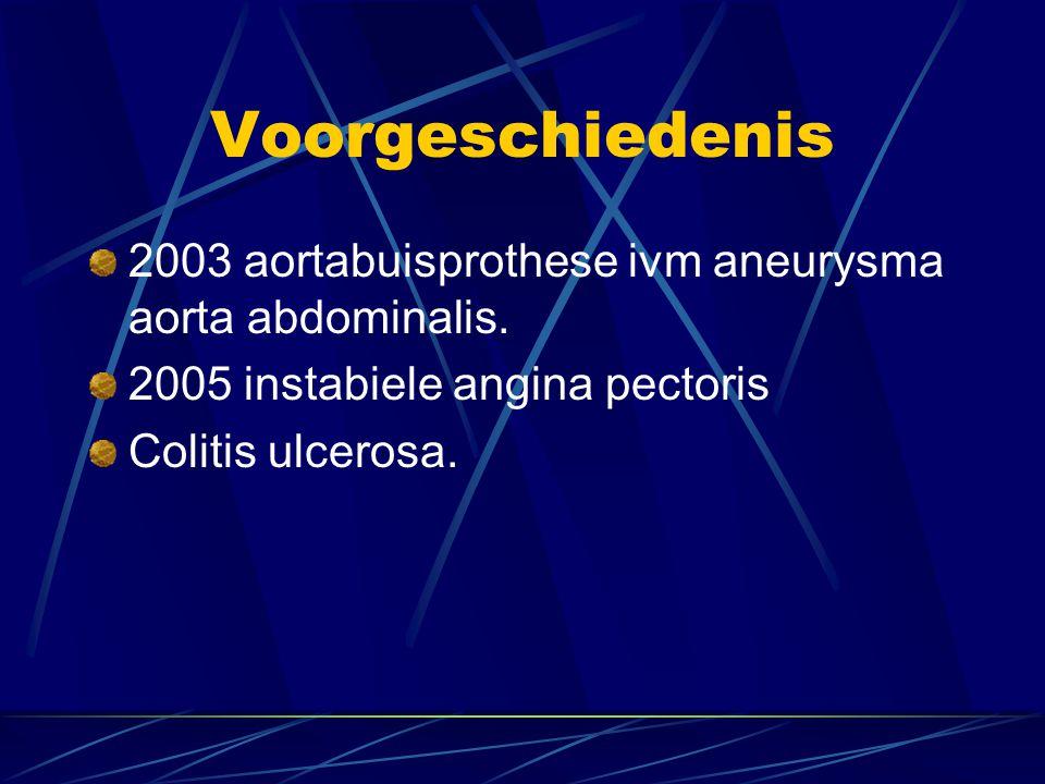 Voorgeschiedenis 2003 aortabuisprothese ivm aneurysma aorta abdominalis. 2005 instabiele angina pectoris Colitis ulcerosa.