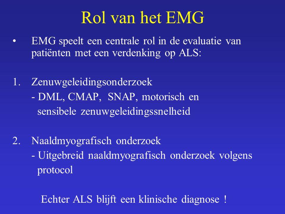 Rol van het EMG EMG speelt een centrale rol in de evaluatie van patiënten met een verdenking op ALS: 1.Zenuwgeleidingsonderzoek - DML, CMAP, SNAP, mot