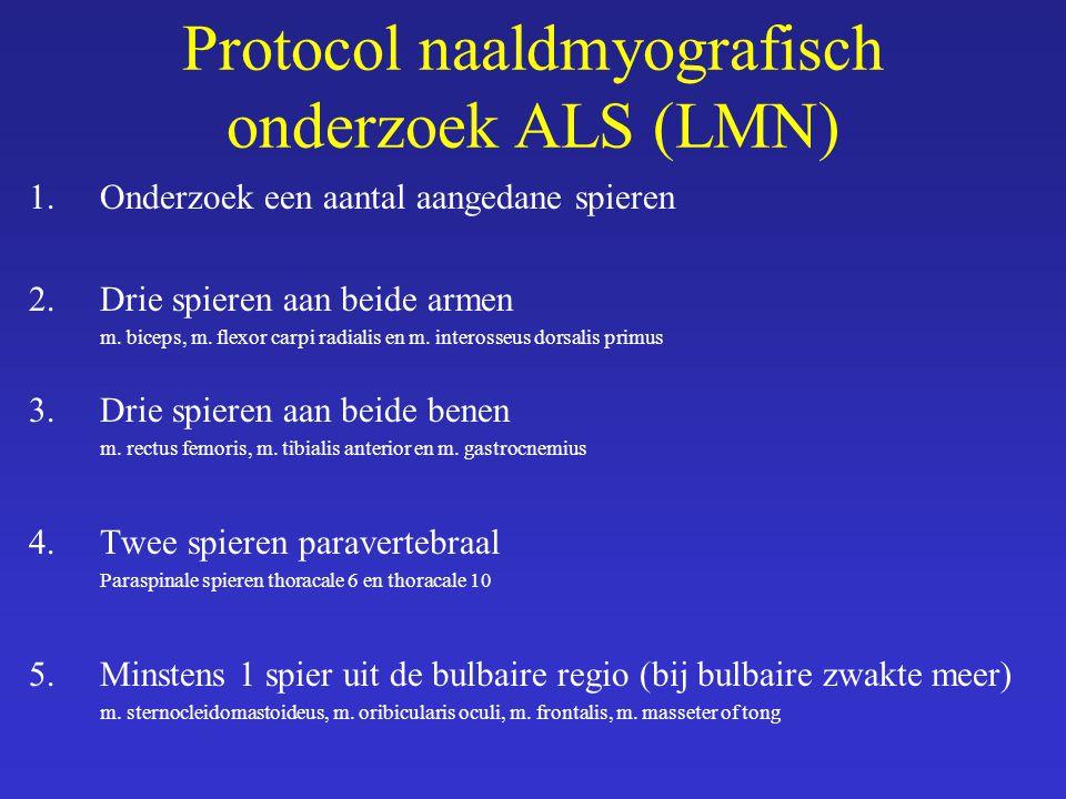 Protocol naaldmyografisch onderzoek ALS (LMN) 1.Onderzoek een aantal aangedane spieren 2.Drie spieren aan beide armen m. biceps, m. flexor carpi radia