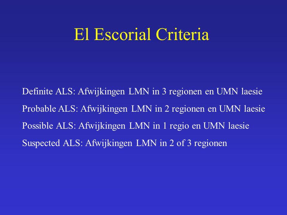 El Escorial Criteria Definite ALS: Afwijkingen LMN in 3 regionen en UMN laesie Probable ALS: Afwijkingen LMN in 2 regionen en UMN laesie Possible ALS: