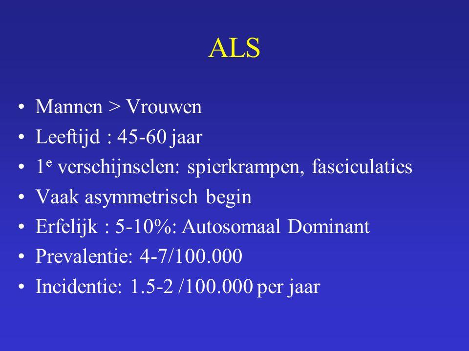 ALS Mannen > Vrouwen Leeftijd : 45-60 jaar 1 e verschijnselen: spierkrampen, fasciculaties Vaak asymmetrisch begin Erfelijk : 5-10%: Autosomaal Domina