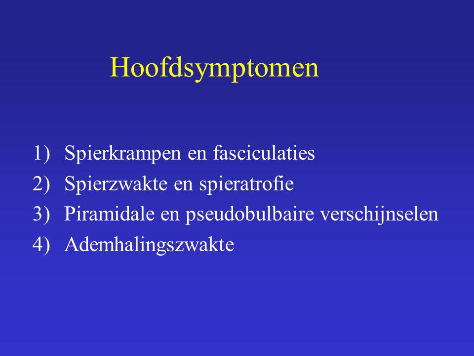 Hoofdsymptomen 1)Spierkrampen en fasciculaties 2)Spierzwakte en spieratrofie 3)Piramidale en pseudobulbaire verschijnselen 4)Ademhalingszwakte