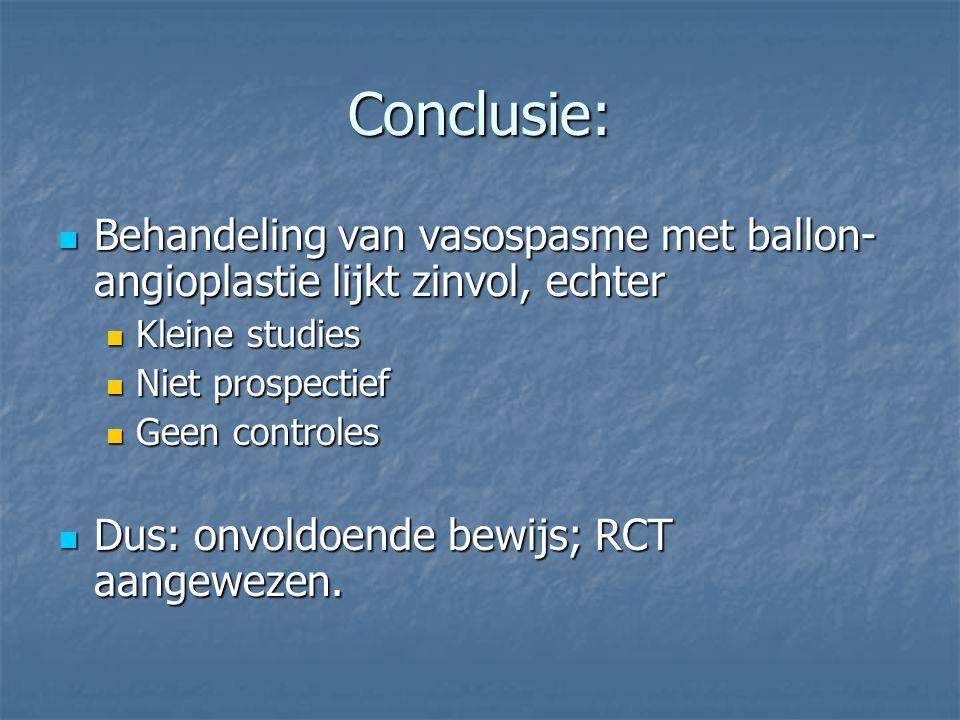 Conclusie: Behandeling van vasospasme met ballon- angioplastie lijkt zinvol, echter Behandeling van vasospasme met ballon- angioplastie lijkt zinvol,
