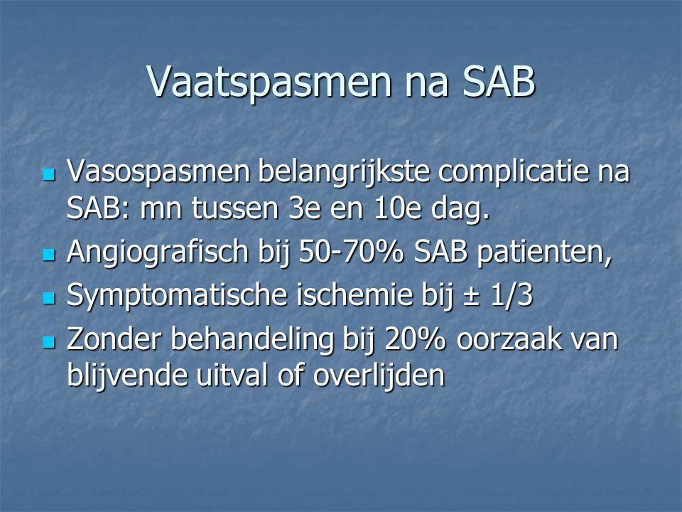 Vaatspasmen na SAB Vasospasmen belangrijkste complicatie na SAB: mn tussen 3e en 10e dag. Vasospasmen belangrijkste complicatie na SAB: mn tussen 3e e