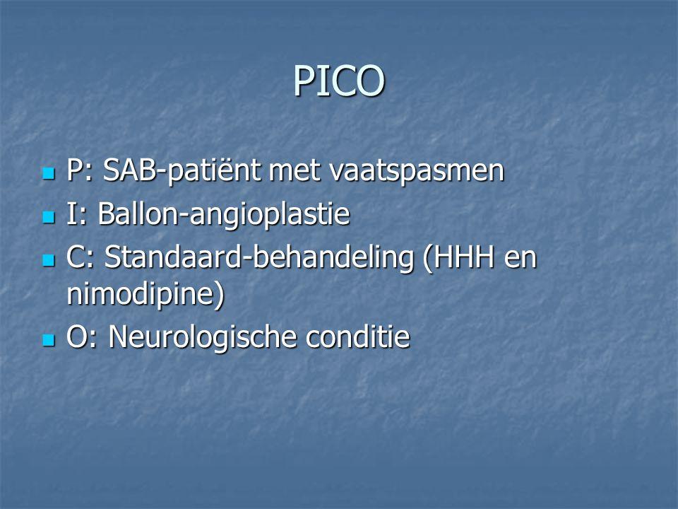 PICO P: SAB-patiënt met vaatspasmen P: SAB-patiënt met vaatspasmen I: Ballon-angioplastie I: Ballon-angioplastie C: Standaard-behandeling (HHH en nimo