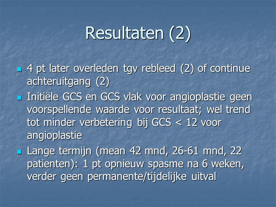 Resultaten (2) 4 pt later overleden tgv rebleed (2) of continue achteruitgang (2) 4 pt later overleden tgv rebleed (2) of continue achteruitgang (2) I