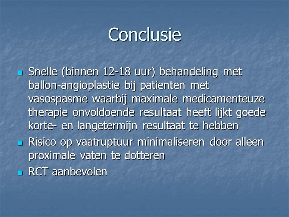 Conclusie Snelle (binnen 12-18 uur) behandeling met ballon-angioplastie bij patienten met vasospasme waarbij maximale medicamenteuze therapie onvoldoe