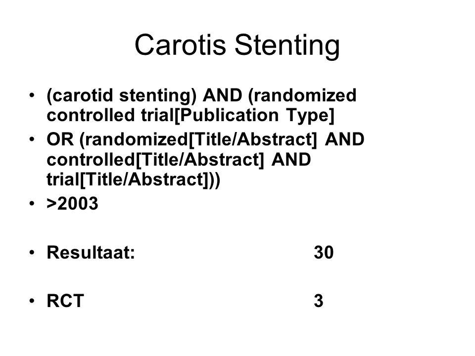 Carotis Stenting EVA-3S trial: 73 pat endovasculair behandeld Met protectie n=58Zonder n=15p lft6672,70,013 stroke5 (8,6%)4 (26,7%)ns Any stroke or death 6 (10.3%)4 (26,7%)ns