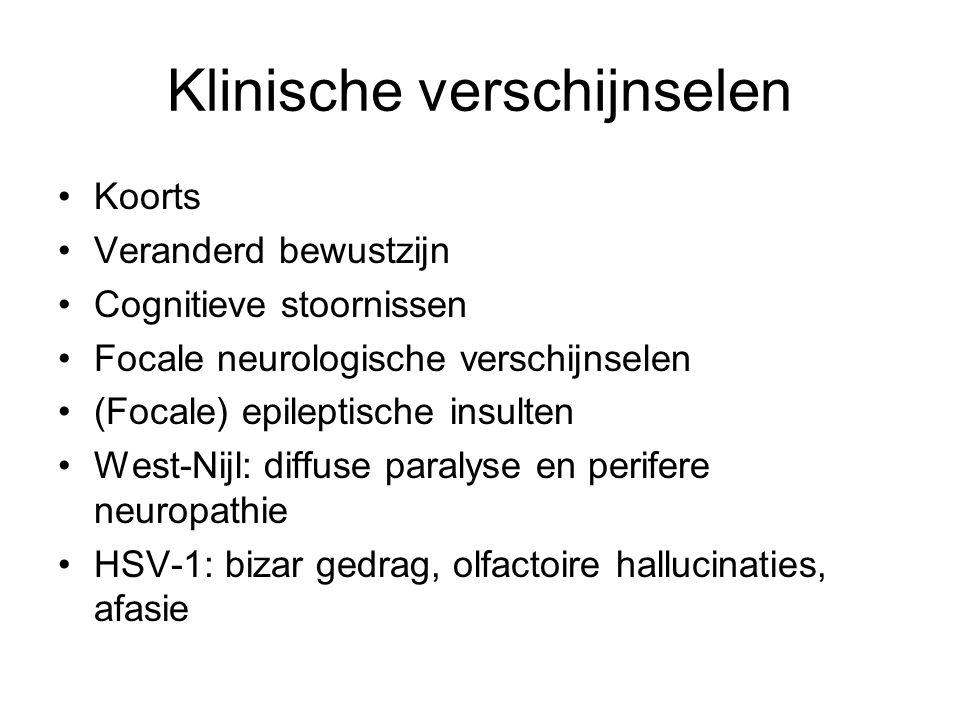 Diagnostiek Anamnese.Bloed: relatieve lymfocytose Liqour: –Leucocytose; < 250/mm 3 mn.