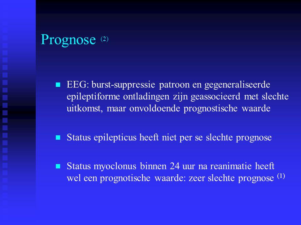 Prognose (2) EEG: burst-suppressie patroon en gegeneraliseerde epileptiforme ontladingen zijn geassocieerd met slechte uitkomst, maar onvoldoende prognostische waarde Status epilepticus heeft niet per se slechte prognose Status myoclonus binnen 24 uur na reanimatie heeft wel een prognotische waarde: zeer slechte prognose (1)