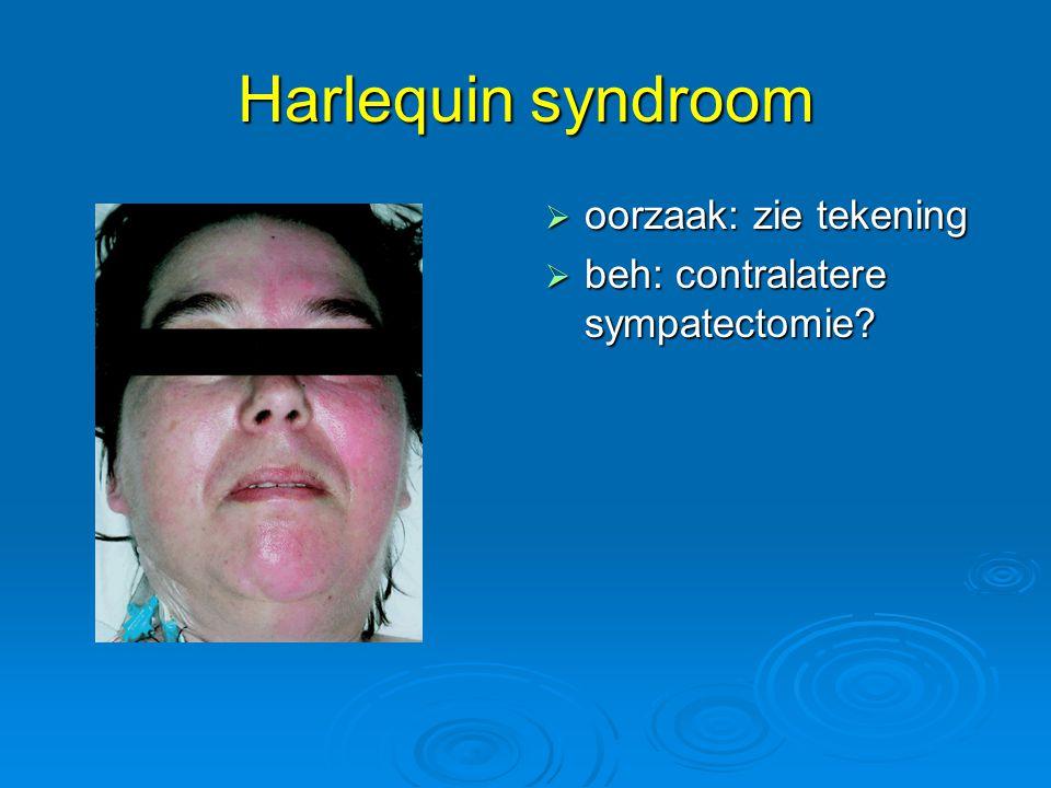 Harlequin syndroom  oorzaak: zie tekening  beh: contralatere sympatectomie?