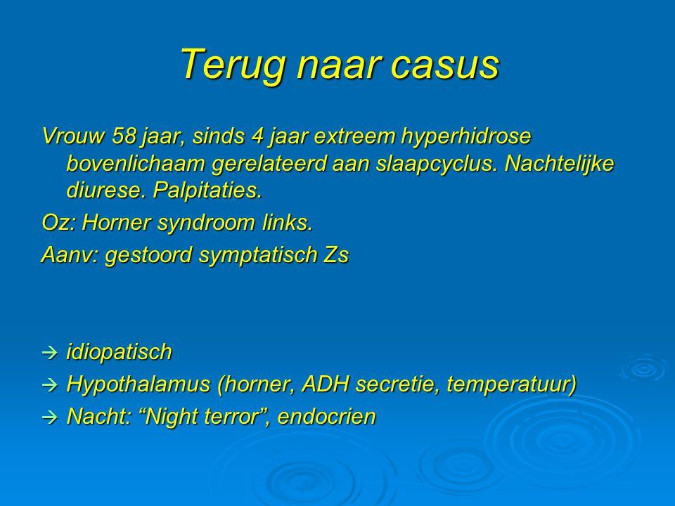 Terug naar casus Vrouw 58 jaar, sinds 4 jaar extreem hyperhidrose bovenlichaam gerelateerd aan slaapcyclus. Nachtelijke diurese. Palpitaties. Oz: Horn