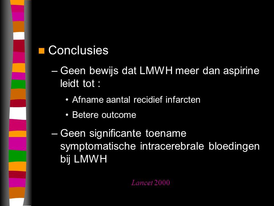 Conclusies –Geen bewijs dat LMWH meer dan aspirine leidt tot : Afname aantal recidief infarcten Betere outcome –Geen significante toename symptomatische intracerebrale bloedingen bij LMWH Lancet 2000