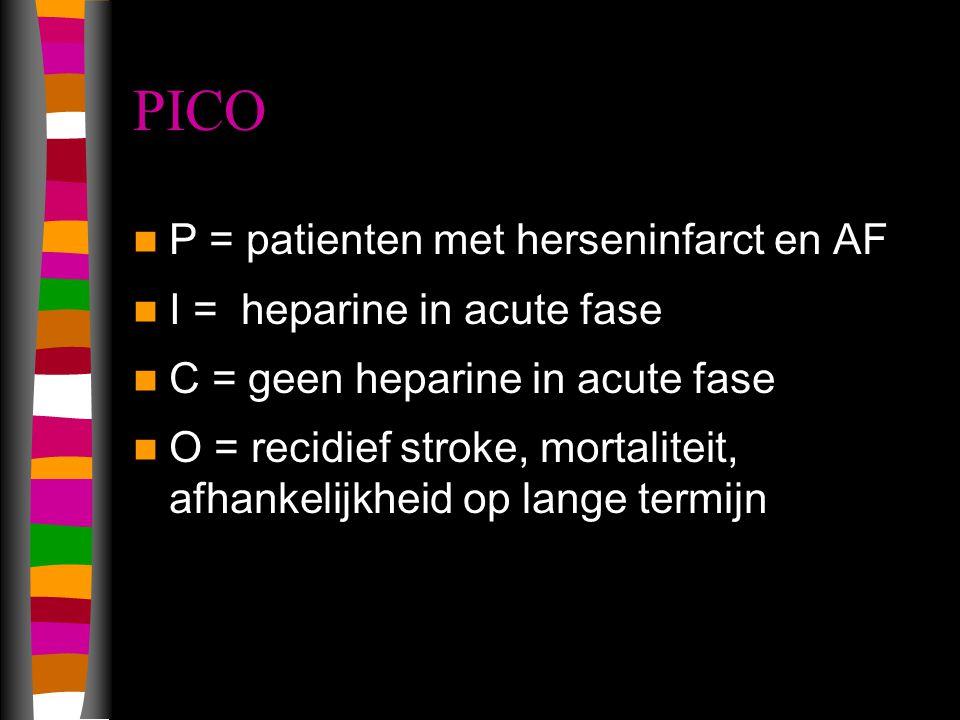 PICO P = patienten met herseninfarct en AF I = heparine in acute fase C = geen heparine in acute fase O = recidief stroke, mortaliteit, afhankelijkheid op lange termijn