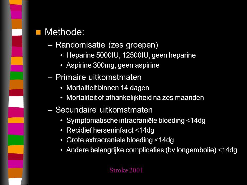 Methode: –Randomisatie (zes groepen) Heparine 5000IU, 12500IU, geen heparine Aspirine 300mg, geen aspirine –Primaire uitkomstmaten Mortaliteit binnen 14 dagen Mortaliteit of afhankelijkheid na zes maanden –Secundaire uitkomstmaten Symptomatische intracraniële bloeding <14dg Recidief herseninfarct <14dg Grote extracraniële bloeding <14dg Andere belangrijke complicaties (bv longembolie) <14dg Stroke 2001