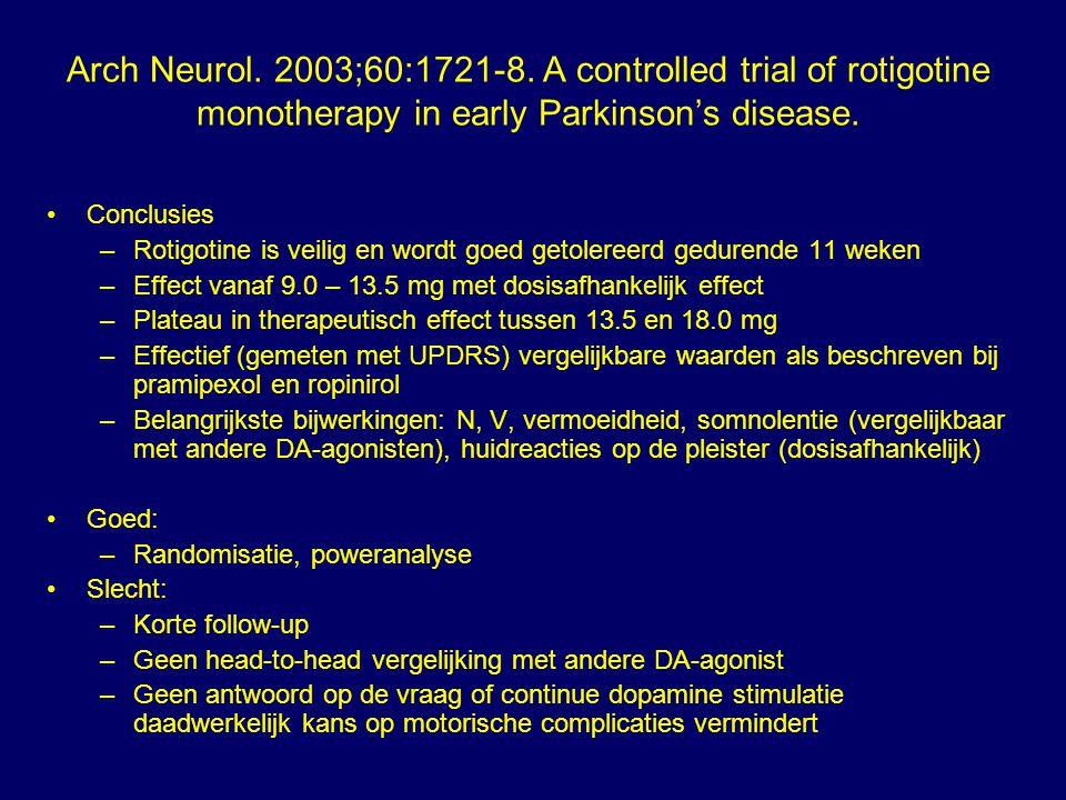 Conclusies –Rotigotine is veilig en wordt goed getolereerd gedurende 11 weken –Effect vanaf 9.0 – 13.5 mg met dosisafhankelijk effect –Plateau in ther