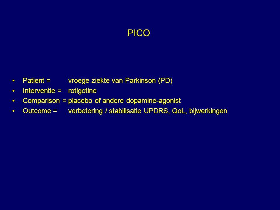 PICO Patient =vroege ziekte van Parkinson (PD) Interventie =rotigotine Comparison =placebo of andere dopamine-agonist Outcome =verbetering / stabilisa
