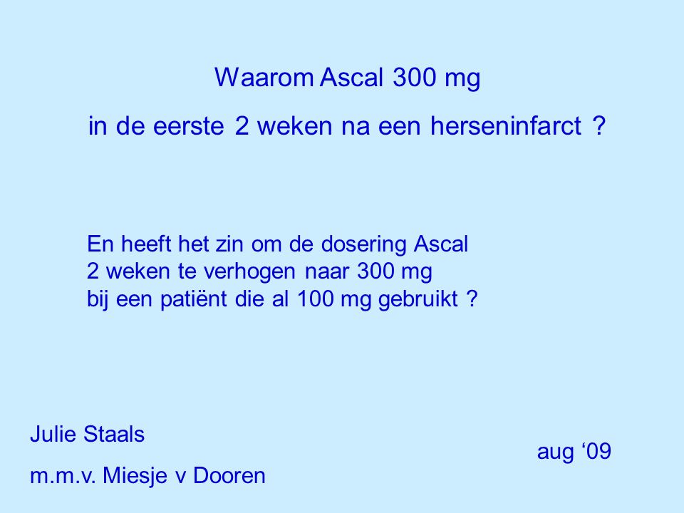 Aspirine : secundaire preventie na een TIA / herseninfarct BMJ 2002, antithrombotic trialists' collaboration 21 trials ~20000 patienten