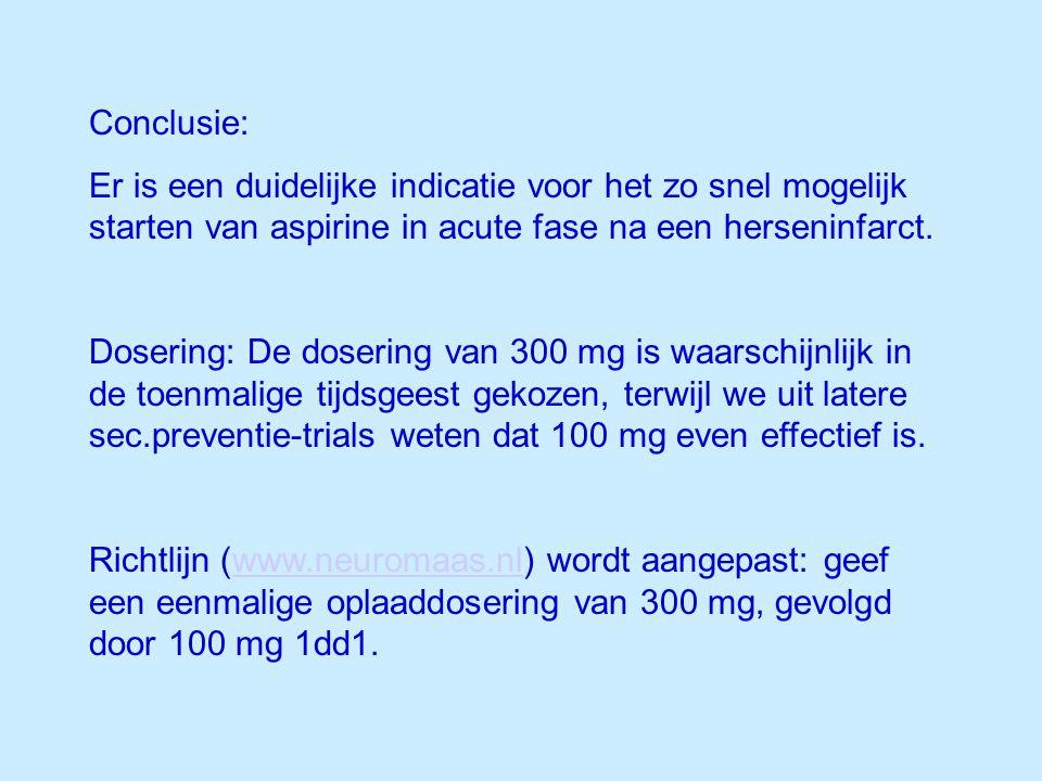 Conclusie: Er is een duidelijke indicatie voor het zo snel mogelijk starten van aspirine in acute fase na een herseninfarct.