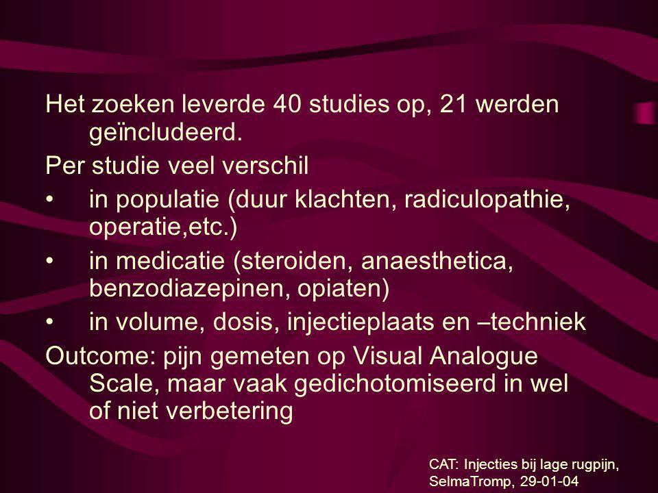 Het zoeken leverde 40 studies op, 21 werden geïncludeerd. Per studie veel verschil in populatie (duur klachten, radiculopathie, operatie,etc.) in medi