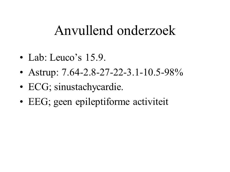 Anvullend onderzoek Lab: Leuco's 15.9. Astrup: 7.64-2.8-27-22-3.1-10.5-98% ECG; sinustachycardie. EEG; geen epileptiforme activiteit