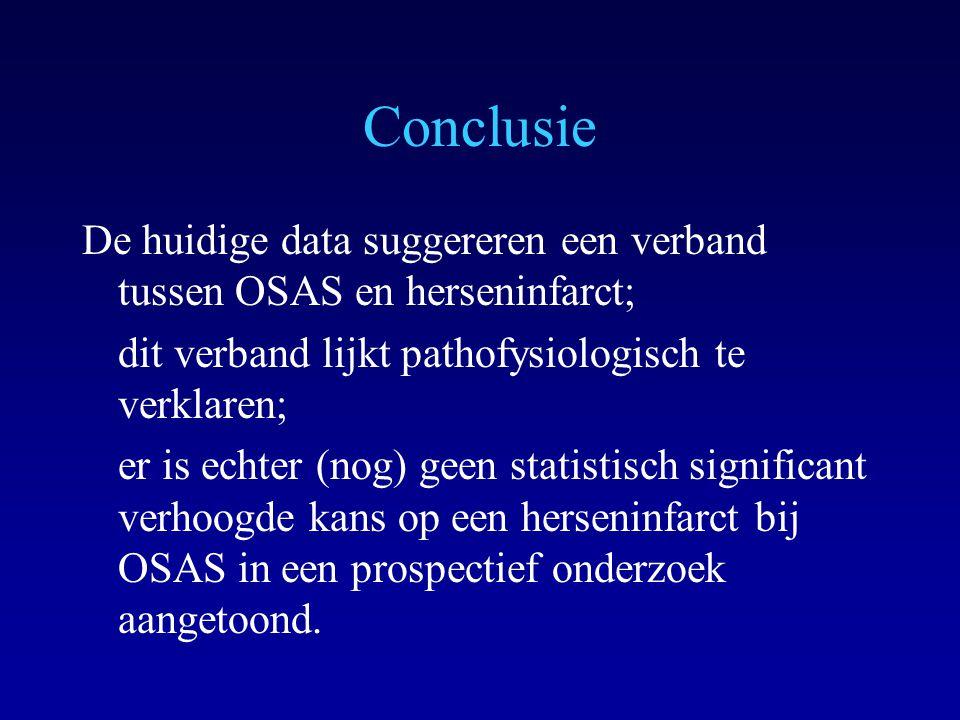 Conclusie De huidige data suggereren een verband tussen OSAS en herseninfarct; dit verband lijkt pathofysiologisch te verklaren; er is echter (nog) geen statistisch significant verhoogde kans op een herseninfarct bij OSAS in een prospectief onderzoek aangetoond.
