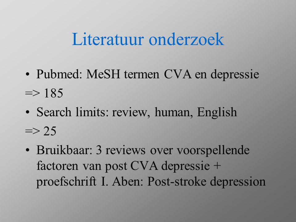 Literatuur onderzoek Pubmed: MeSH termen CVA en depressie => 185 Search limits: review, human, English => 25 Bruikbaar: 3 reviews over voorspellende f