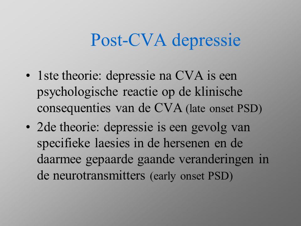 Post-CVA depressie 1ste theorie: depressie na CVA is een psychologische reactie op de klinische consequenties van de CVA (late onset PSD) 2de theorie: