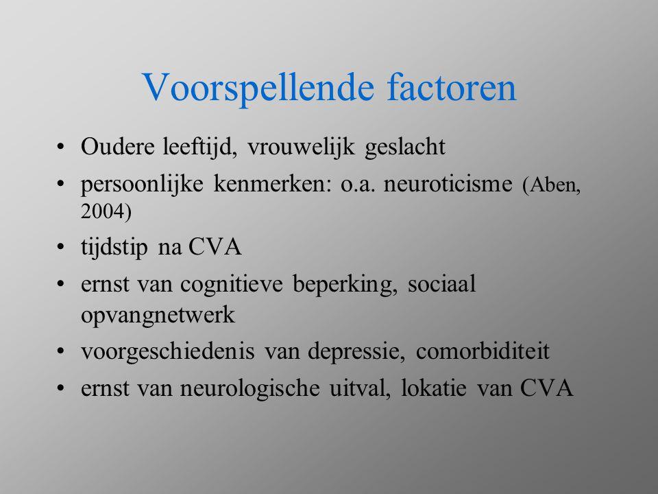 Voorspellende factoren Oudere leeftijd, vrouwelijk geslacht persoonlijke kenmerken: o.a. neuroticisme (Aben, 2004) tijdstip na CVA ernst van cognitiev