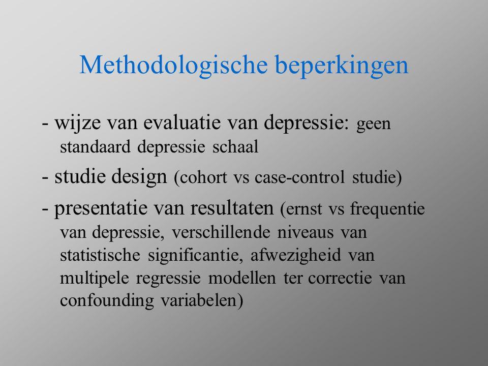 Methodologische beperkingen - wijze van evaluatie van depressie: geen standaard depressie schaal - studie design (cohort vs case-control studie) - pre