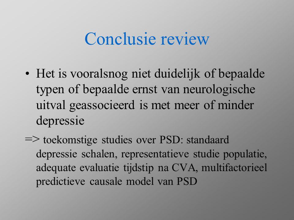Theorieen over pathogenese post-CVA depressie Lesion location hypothesis Vascular depression hypothesis