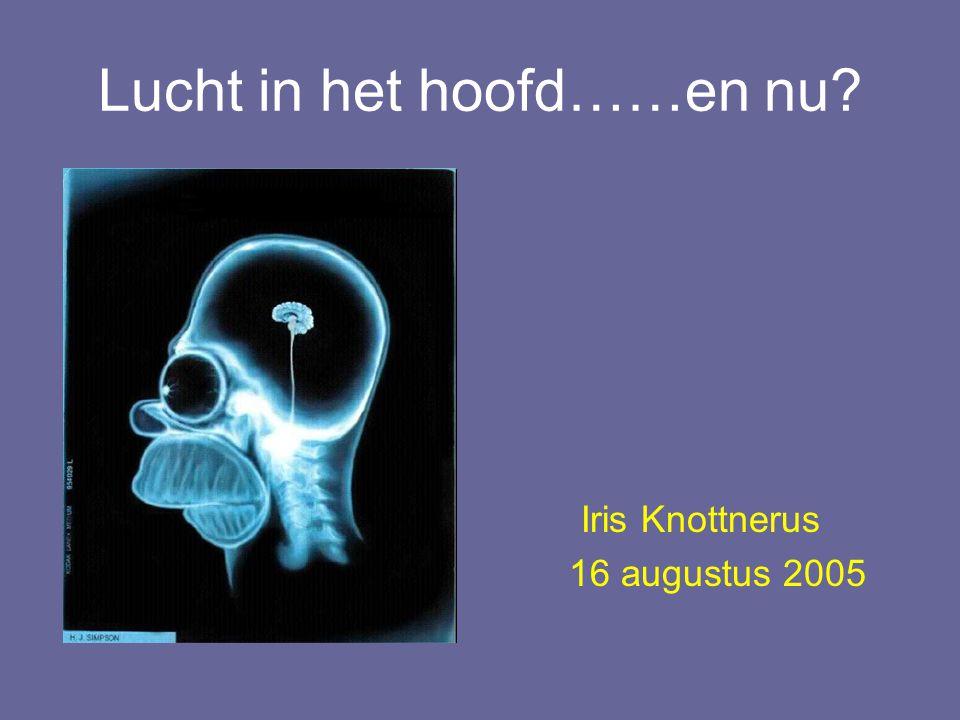 Lucht in het hoofd……en nu? Iris Knottnerus 16 augustus 2005