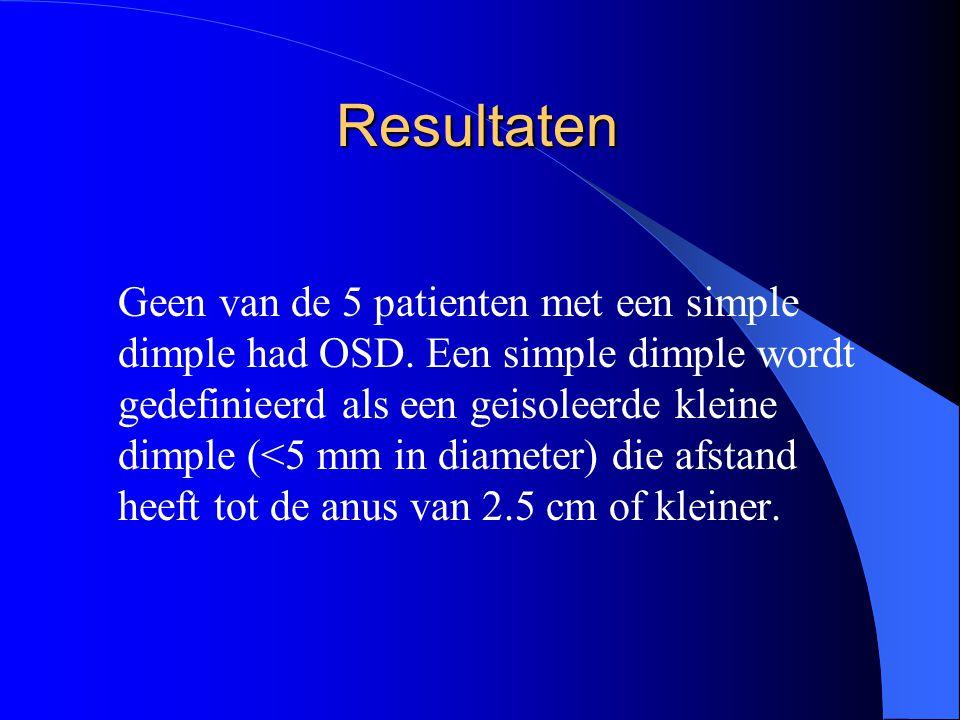 Resultaten Geen van de 5 patienten met een simple dimple had OSD. Een simple dimple wordt gedefinieerd als een geisoleerde kleine dimple (<5 mm in dia