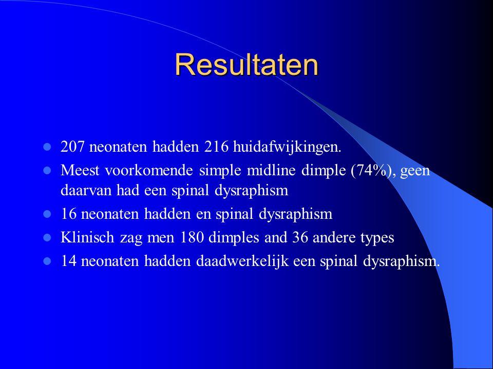 Resultaten 207 neonaten hadden 216 huidafwijkingen. Meest voorkomende simple midline dimple (74%), geen daarvan had een spinal dysraphism 16 neonaten