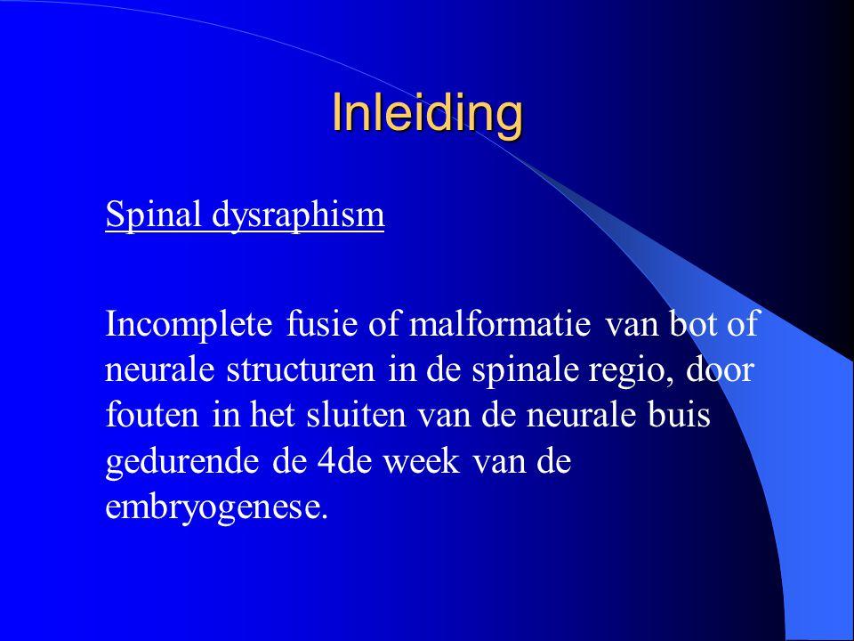 Inleiding Spinal dysraphism Incomplete fusie of malformatie van bot of neurale structuren in de spinale regio, door fouten in het sluiten van de neura