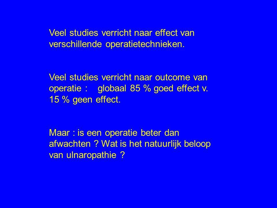 Veel studies verricht naar effect van verschillende operatietechnieken. Veel studies verricht naar outcome van operatie : globaal 85 % goed effect v.