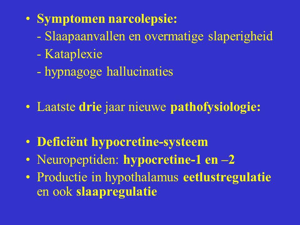 Symptomen narcolepsie: - Slaapaanvallen en overmatige slaperigheid - Kataplexie - hypnagoge hallucinaties Laatste drie jaar nieuwe pathofysiologie: De